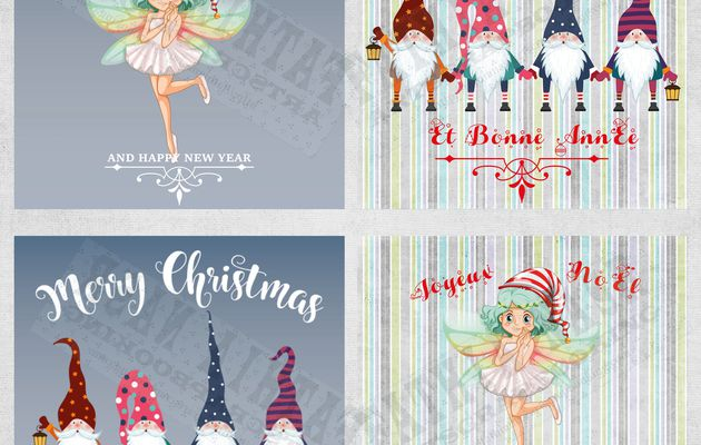 4 Beautiful Christmas Greeting Cards with fairy and gnomes with words Merry Christmas and happy new year in French and English