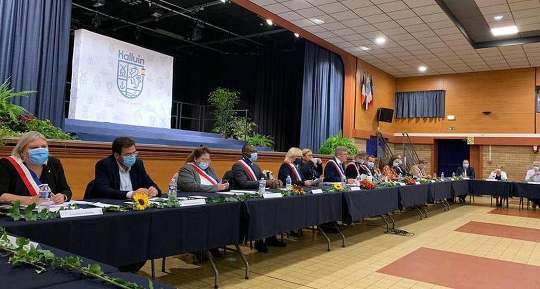Installation du nouveau Conseil Municipal d'Halluin, à la Salle du Manège, le 1er Octobre 2021.