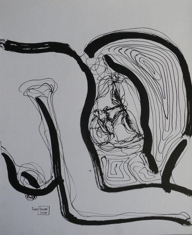 Encre noire sur papier, plume et pinceau, 50 cm x 70 cm, à partir de modèles vivants