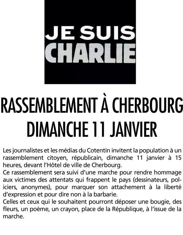 Rassemblement a #Cherbourg demain a 15h ! #JeSuisCharlie