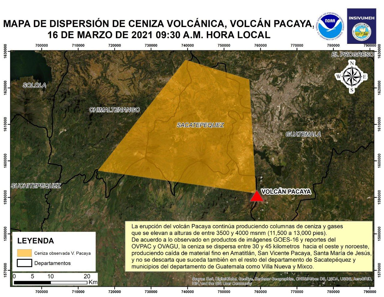 Pacaya - RSAM and tephra / ash dispersion map as of 16.03.2021 - Doc. Insivumeh