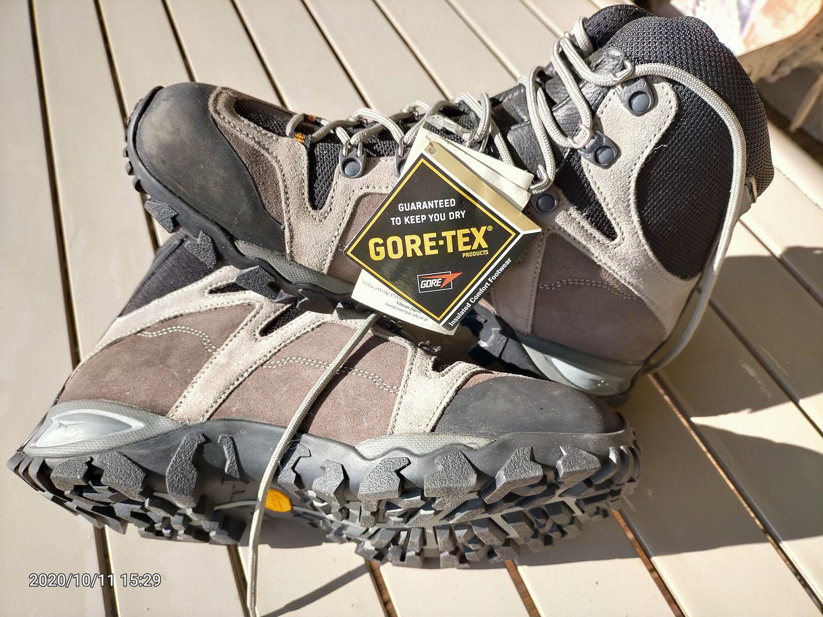 Chaussures de marche technique, à semelle Vibram, doublure Goretex et cuir et textile. Pointure UK 7 soit 41. Prix: 90€