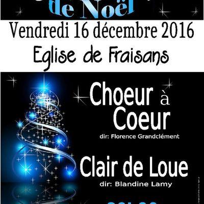 Concert à Fraisans le 16 décembre