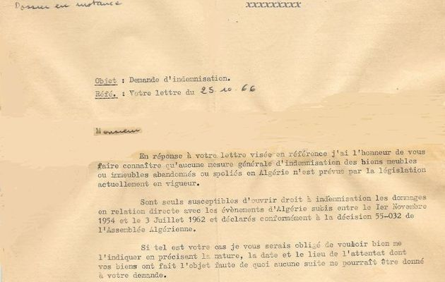 Harkis : 1966, Déjà... une demande d'indemnisation