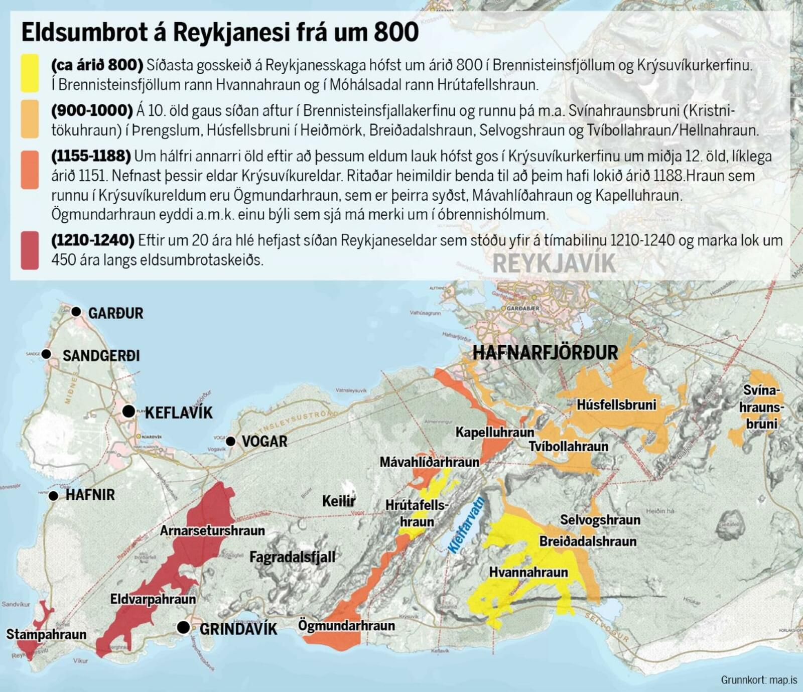 2021.03.04 Reykjanes - Review of eruptions in the Peninsula since the year 800, and their lava flows - graph mbl.is