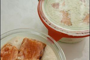 Tataki de saumon sur crémeux au mascarpone