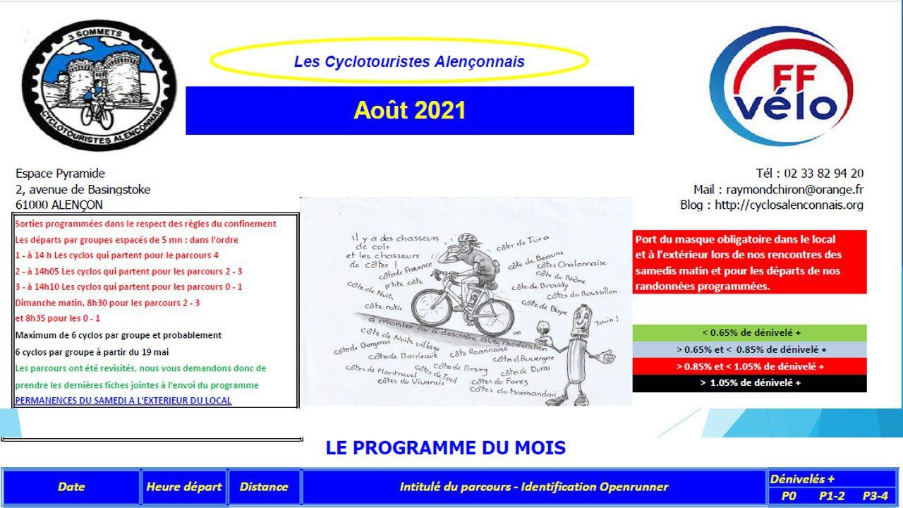 PROGRAMME AOÛT 2021