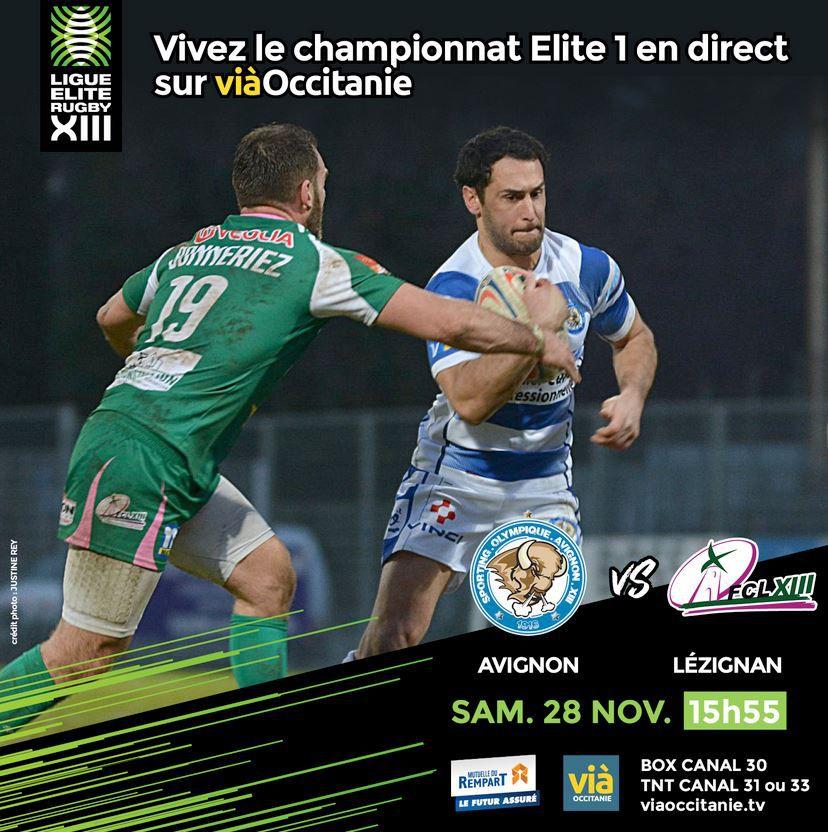 Avignon / Lézignan (Rugby XIII) en direct ce samedi sur viàOccitanie TV !