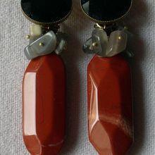 Création bijou : boucles d'oreilles clips jaspe rouge