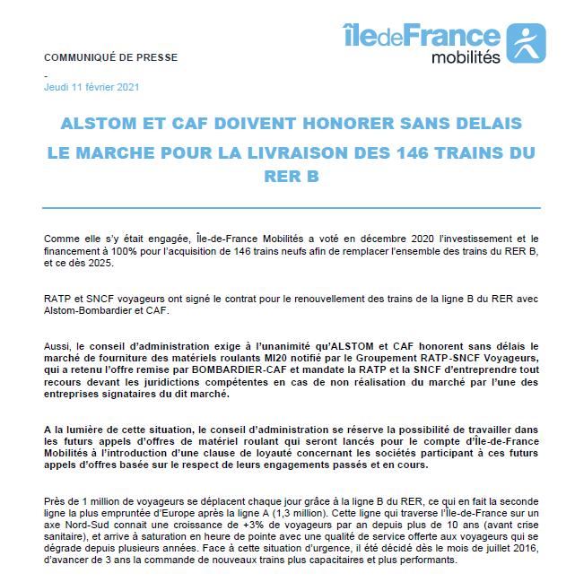 146 trains neufs pour le RER B : Bruno Beschizza, Valérie Pécresse et la région Ile-de-France mettent la pression sur Alstom et CAF