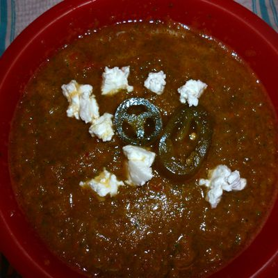 Soupe Courgette Tomate Curry Rouge Piment & Chevre