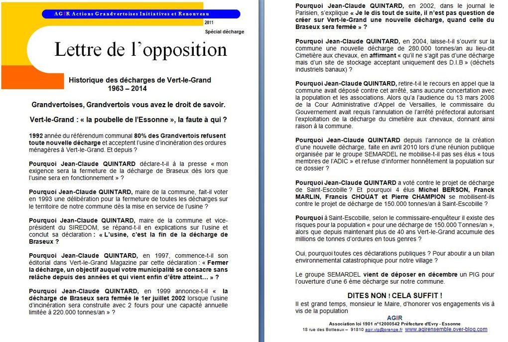 La lettre de l'opposition Grandvertoise