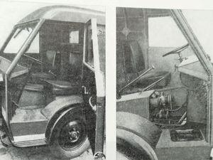 Présentation publicitaire du fourgon 1500 kg T60 à moteur bicylindres  2 temps (76x80 =720 centimètres cubes)  puissance fiscale de à temps de 4CV -  Vue de la cabine  à l'équipement sommaire - groupe moteur propulseur (transmission aux roues avant).