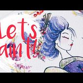 Dreamy Floral Geisha ~ watercolor painting (timelapse) ~ by TJ Lubrano