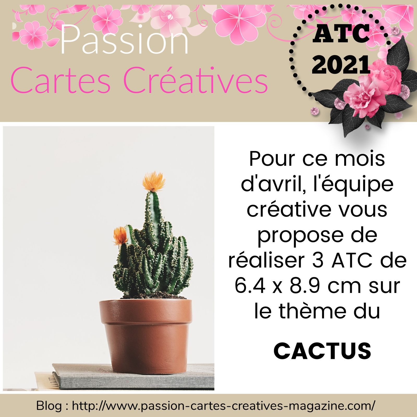 ATC d'avril 2021 de Passion Cartes Créatives