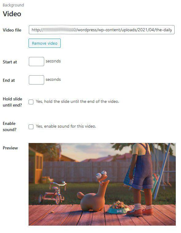 Exemple de slide vidéo : https://www.blender.org/about/projects/