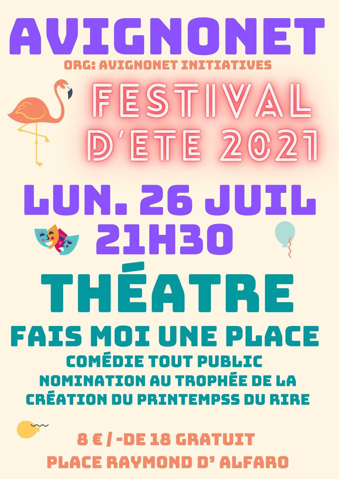 Ce soir, 26 juillet théâtre au Festival d'été d'Avignonet