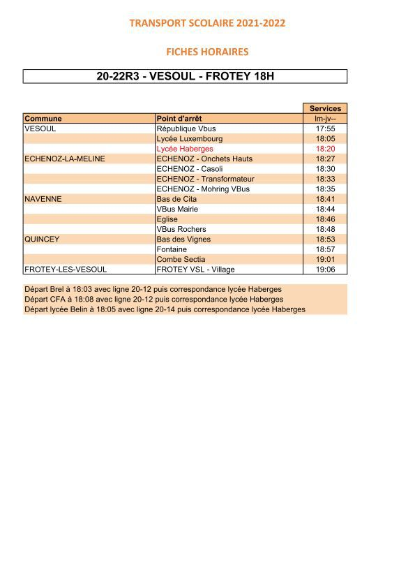 Fiches horaires transport scolaire