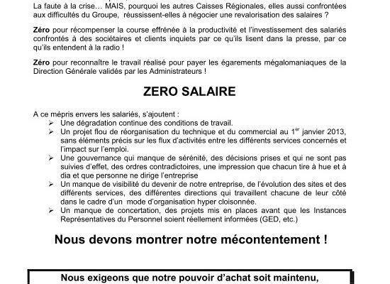 Grève intersyndicale à Groupama Centre Atlantique le 21 décembre 2012 pour les salaires, les conditions de travail...