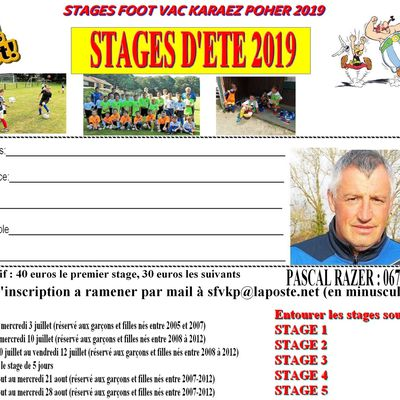 Stages d'été: Inscriptions