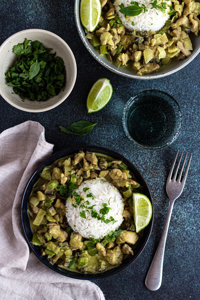 poulet curry vert coco