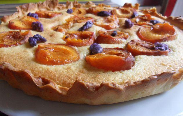 Tarte amandine aux abricots et violettes de toulouse