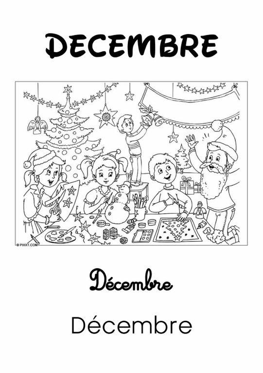 Les Mois de l'Année 2 : Décembre [Affichage][Coloriage][Maternelle][CP]