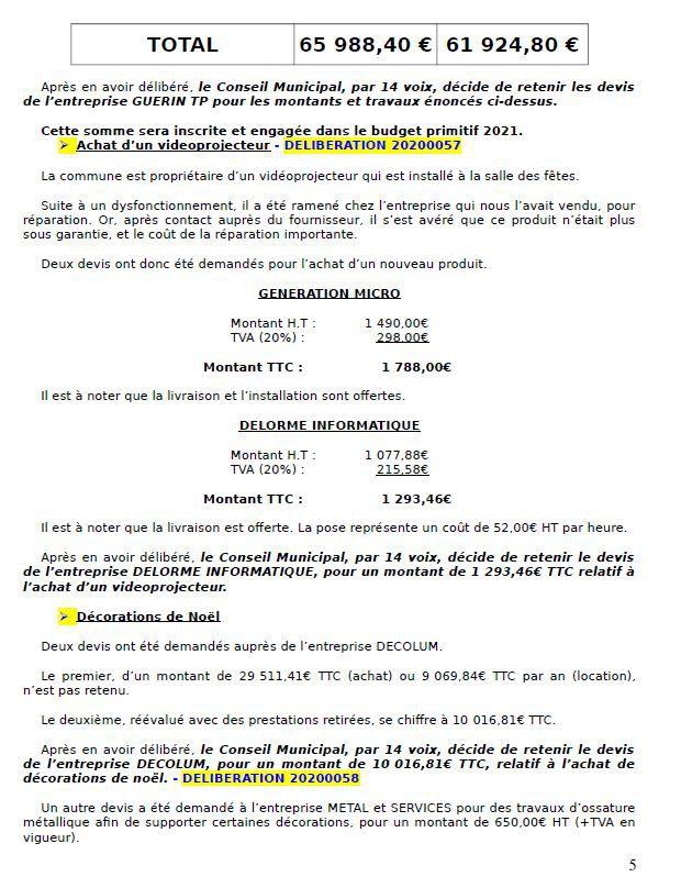 LES DERNIERES DECISIONS DU CONSEIL MUNICIPAL 02/10/20