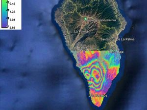 La Palma - interferometric analyzes by Sentinel-1 / variations between 2 satellite passes - one click to enlarge