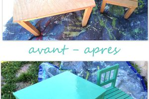Table et chaise d'enfant repeintes