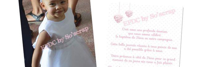 La carte de remerciements assortie au faire part de baptême pour la petite Nina ...