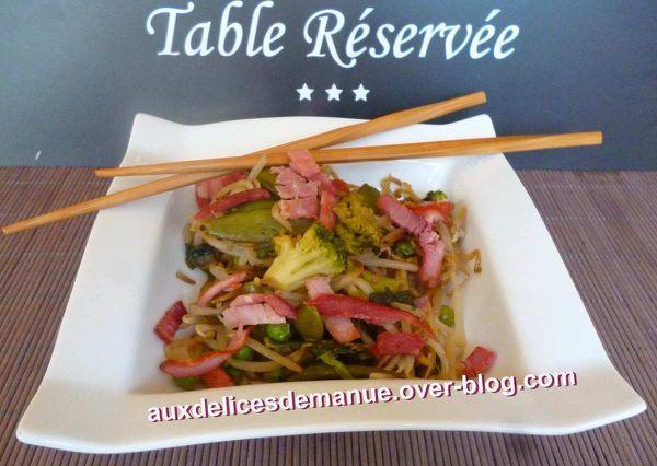poêlée de germes de soja aux légumes verts et bacon