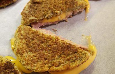 Pancakes avoine-courgette à la façon croque-monsieur sans gluten