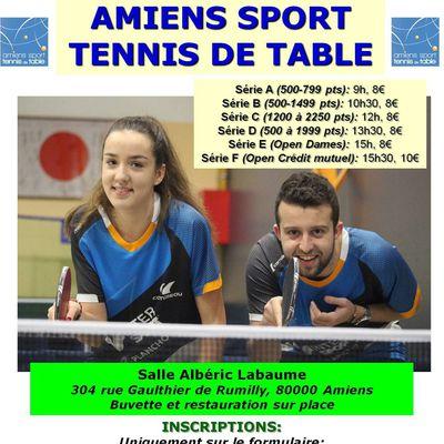 TOURNOI NATIONAL 2020 DE L'AMIENS SPORT TENNIS DE TABLE, le samedi 28 mars 2020