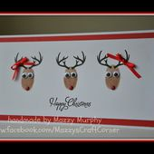 quick and easy finger-print reindeer Christmas card
