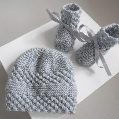 Tricot bebe, tricot laine bb fait main