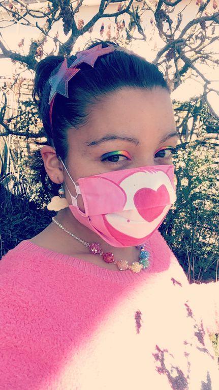 Mon joli masque  alternatif en tissu coton lavable Bisounours