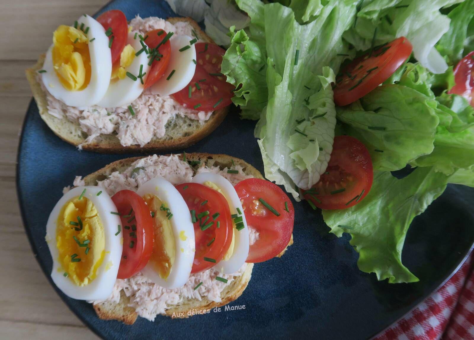 bruschetta,tartine,sandwich,œuf,œuf dur,tomate,thon