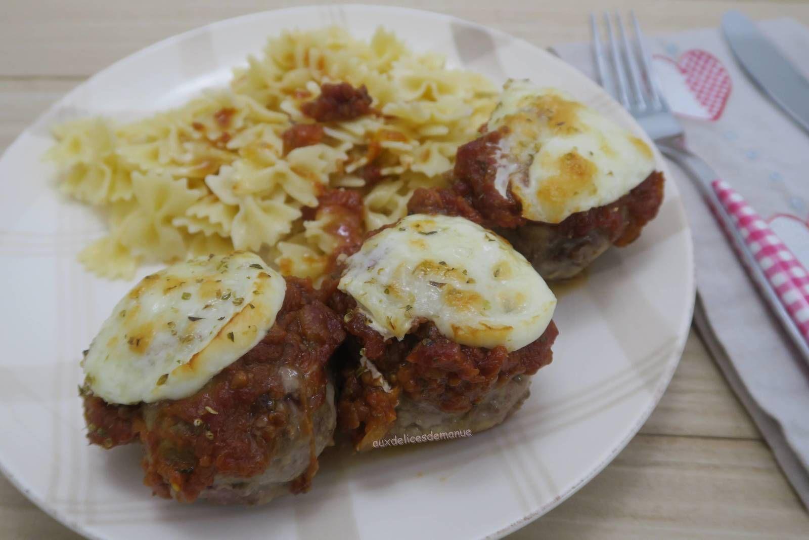 boulettes,boeuf,saucisse,chipolata,mozzarella,plat en sauce,gratin