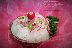 Tartare de Daurade Coco Poivre Vert en Habits Roses Pour Octobre Rose