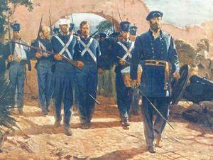 à droite l'entrée des Marines à Mexico, ils furent les premiers à le faire, un honneur dû à leur comportement exemplaire à Chapultepec ( à noter la tenue qui n'est pas l'uniforme de campagne mais la tenue traditionnelle bleue et rouge avec shako bell crown ). A droite un caporal des Marines en tenue de campagne d'après un tableau de Don Troiani