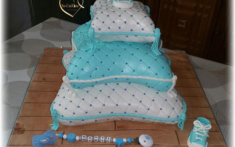 Pièce montée de coussin - Bleu et blanc