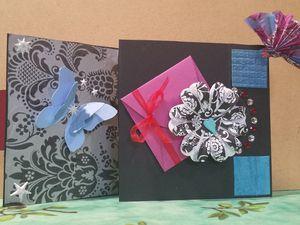 Carte - Anniversaire - Femme - 2015 - Hello Kitty - Portrait - Dessin - Eventail - Dentelle - Fait Main - Fait Maison - Enveloppe - Fleur - Calligraphie - Papillon - Papier Scrapbooking