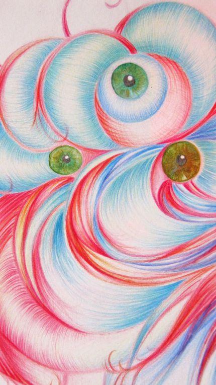 dessins  crayons de couleurs, crayons pastels, aquarelle , encre et brou de noix qur canson