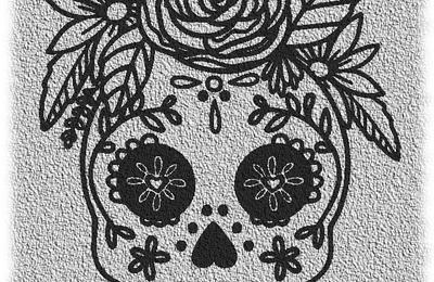 Tête mort fleurs