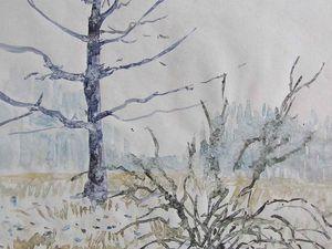 Différentes aquarelles effectuées dans le froid, (-10° pour l'une, l'eau gèle dans le pot et sur les pinceaux...), sous la neige (impacts et coulures provoqués par les flocons...), sous la pluie (tâches des gouttes sur l'aquarelle ou délayage total de celle-ci...)