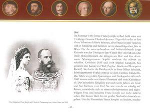 couverture du carnet : empereur Rodolphe, Impératrice Marie-Thérèse, Empereur François-Joseph. A droite, page consacrée à Sissi