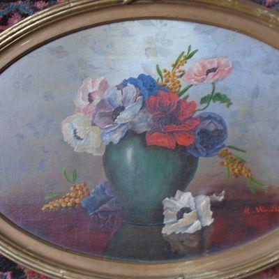 2 tableaux ovales de fleurs & 1 petit pilulier ovale & fleuri aussi