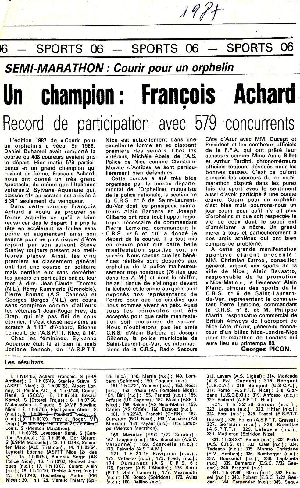 """NICE - COURIR POUR UN ORPHELINS """"  - 1987"""