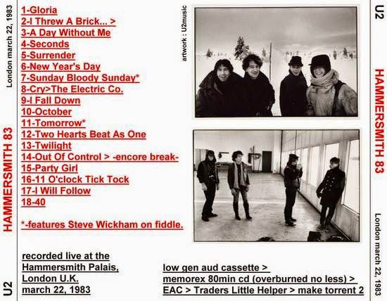 U2 -War Tour -22/03/1983 -Londres -Angleterre -Hammersmith Odeon #2